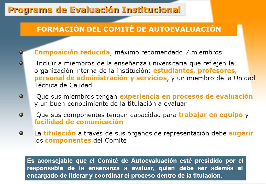 FORMACIÓN DEL COMITÉ DE AUTOEVALUACIÓN