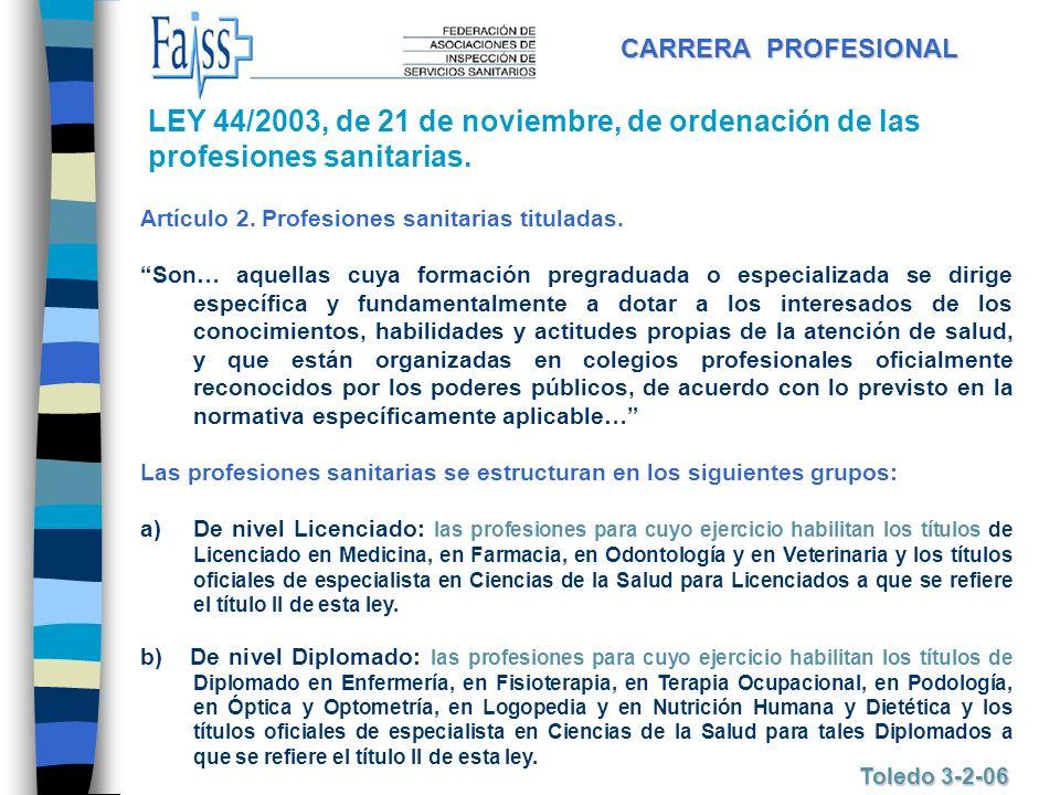 CARRERA PROFESIONAL LEY 44/2003, de 21 de noviembre, de ordenación de las profesiones sanitarias. Artículo 2. Profesiones sanitarias tituladas.