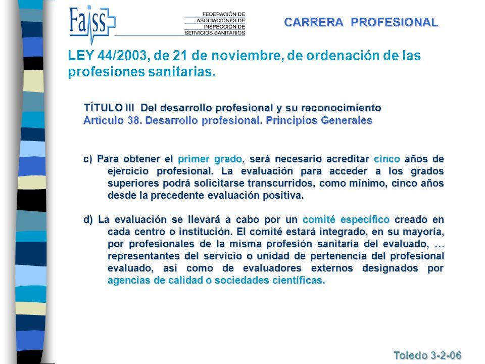 CARRERA PROFESIONAL LEY 44/2003, de 21 de noviembre, de ordenación de las profesiones sanitarias.