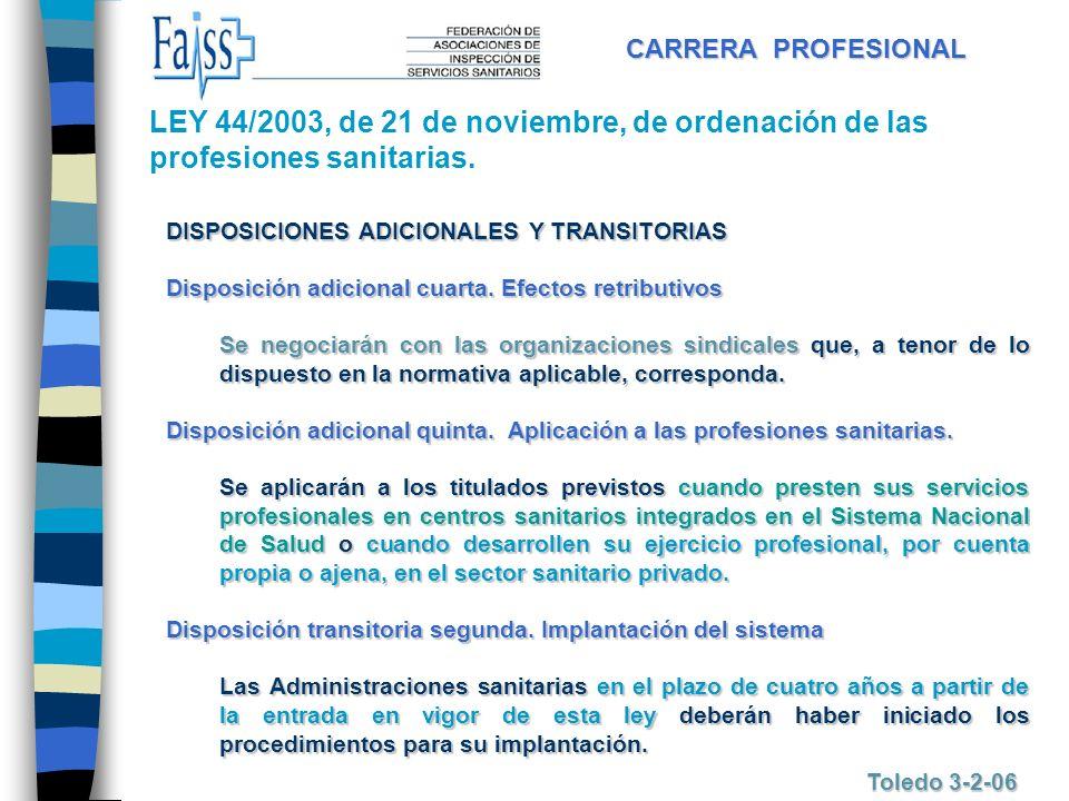CARRERA PROFESIONAL LEY 44/2003, de 21 de noviembre, de ordenación de las profesiones sanitarias. DISPOSICIONES ADICIONALES Y TRANSITORIAS.