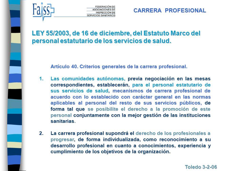 CARRERA PROFESIONAL LEY 55/2003, de 16 de diciembre, del Estatuto Marco del personal estatutario de los servicios de salud.