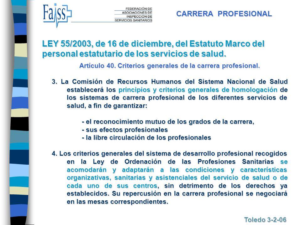 Artículo 40. Criterios generales de la carrera profesional.