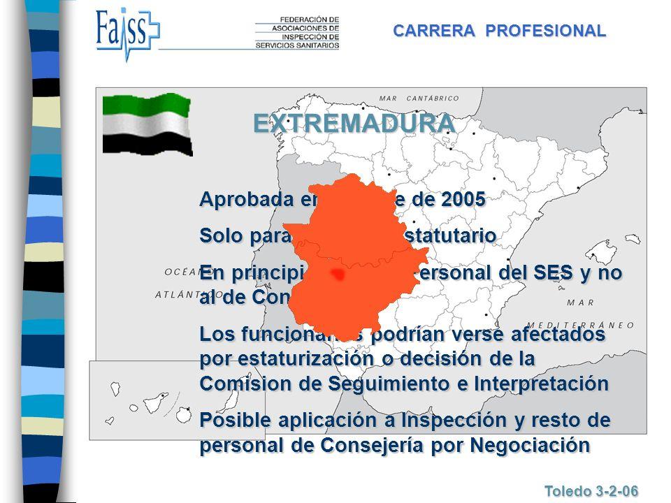 EXTREMADURA Aprobada en octubre de 2005 Solo para Personal Estatutario