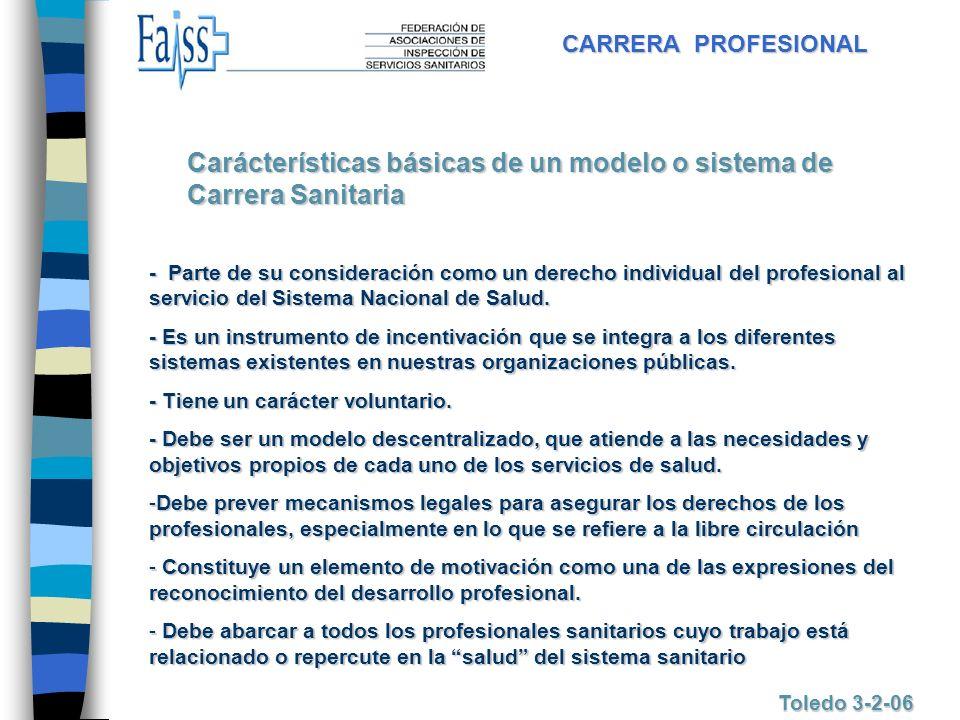 Carácterísticas básicas de un modelo o sistema de Carrera Sanitaria
