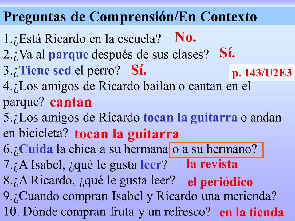 Preguntas de Comprensión/En Contexto