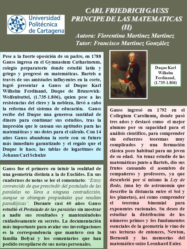 CARL FRIEDRICH GAUSS PRINCIPE DE LAS MATEMATICAS (II)
