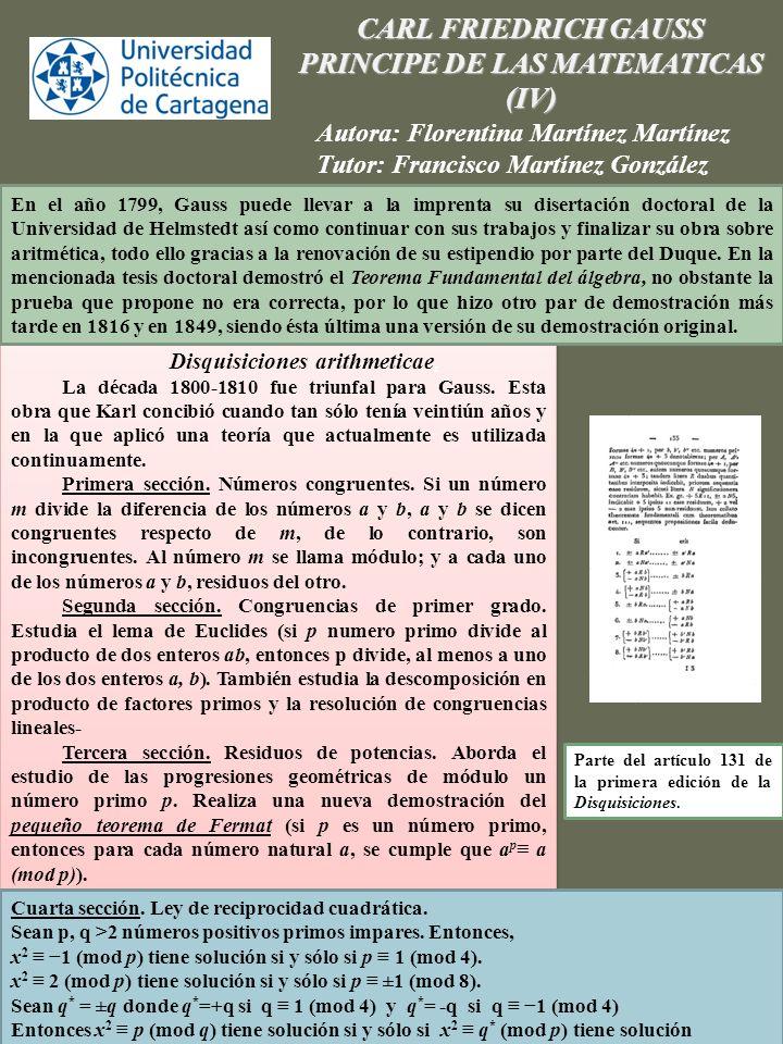 PRINCIPE DE LAS MATEMATICAS Disquisiciones arithmeticae.