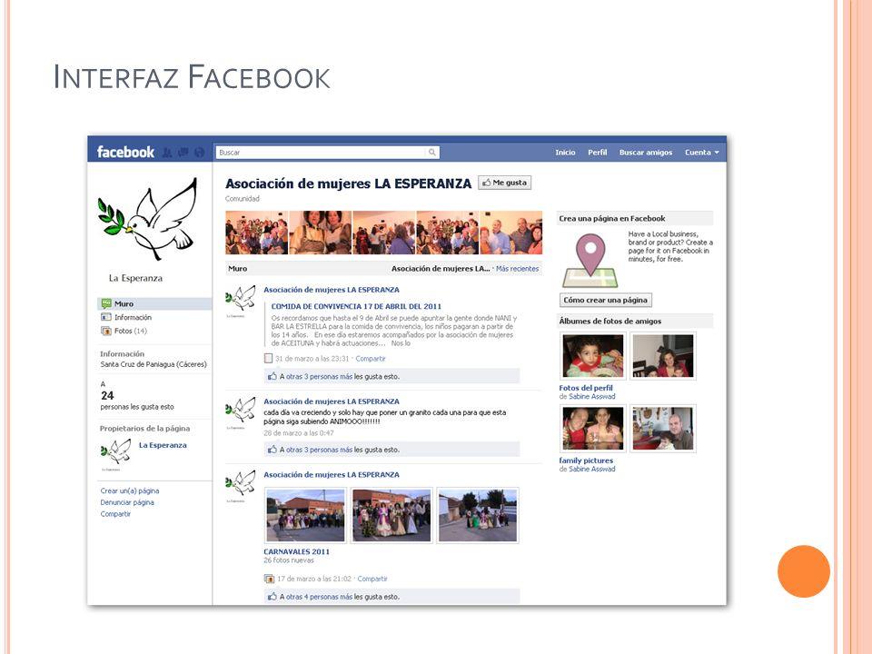 Interfaz Facebook