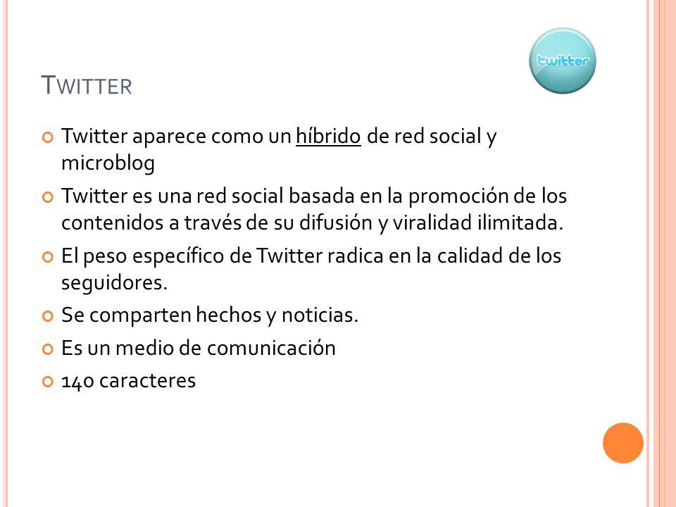 Twitter Twitter aparece como un híbrido de red social y microblog