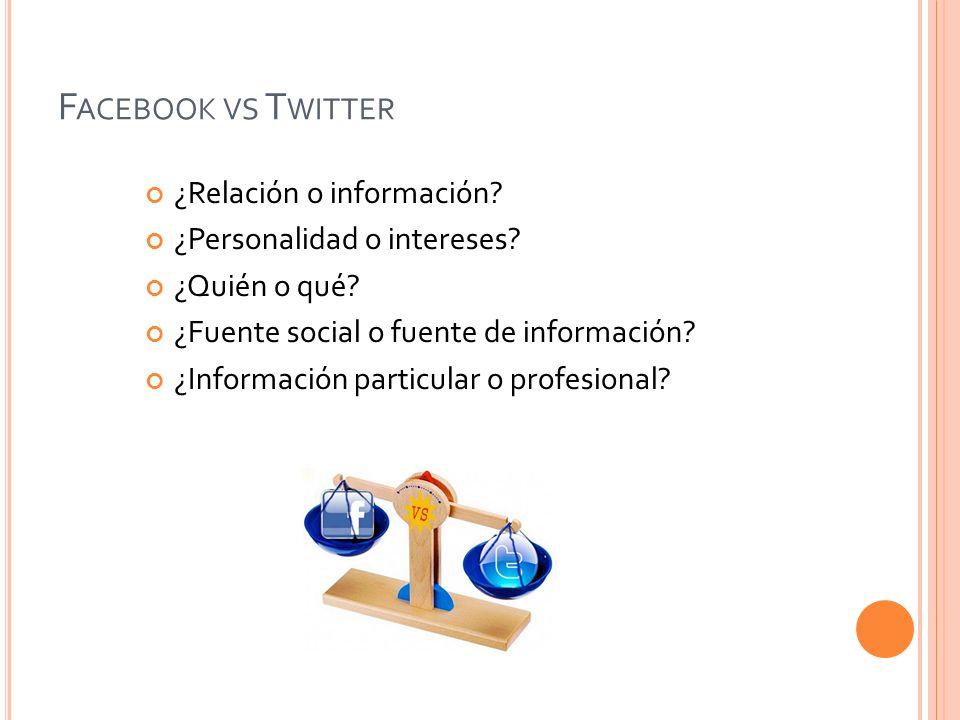 Facebook vs Twitter ¿Relación o información
