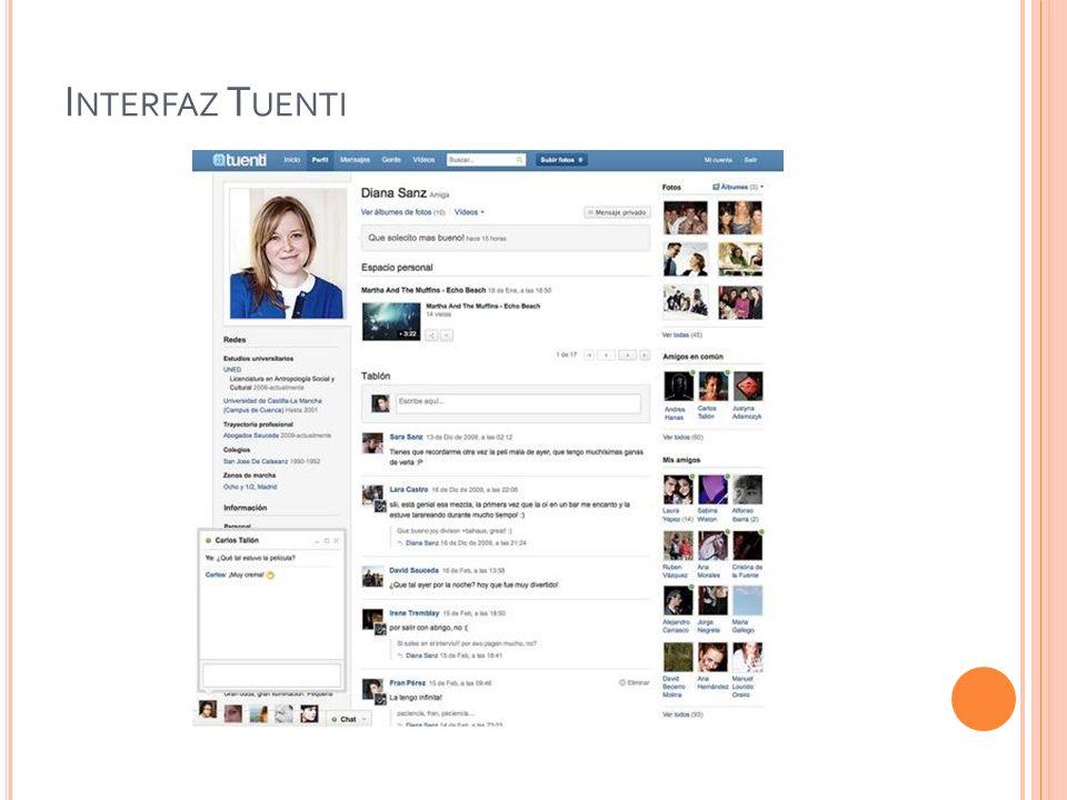 Interfaz Tuenti