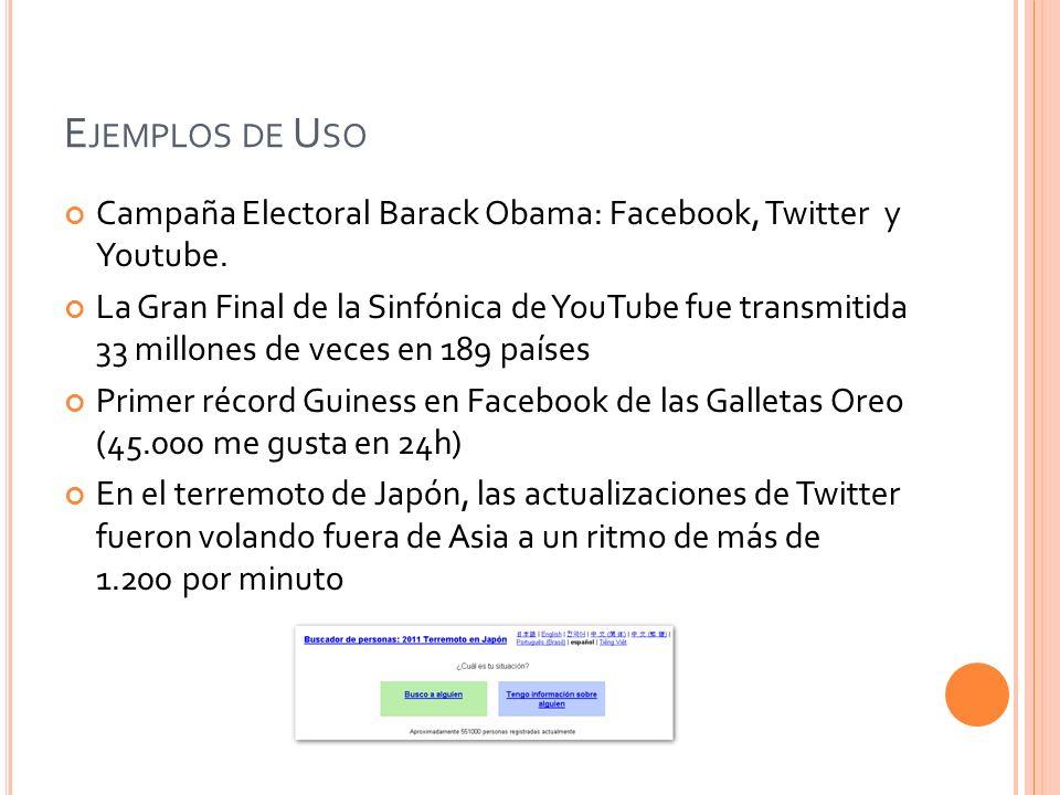 Ejemplos de Uso Campaña Electoral Barack Obama: Facebook, Twitter y Youtube.