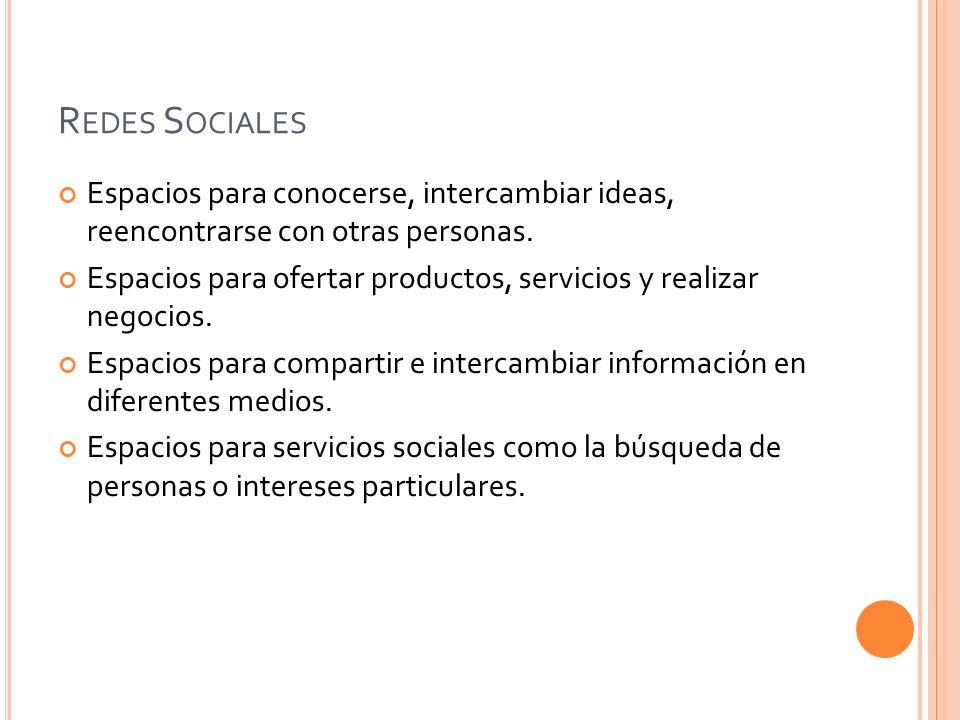 Redes Sociales Espacios para conocerse, intercambiar ideas, reencontrarse con otras personas.