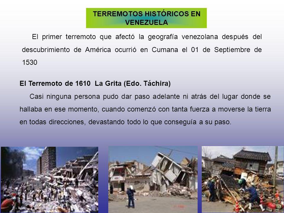 TERREMOTOS HISTÓRICOS EN VENEZUELA