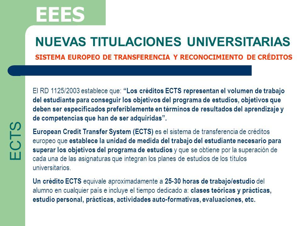 EEES ECTS NUEVAS TITULACIONES UNIVERSITARIAS