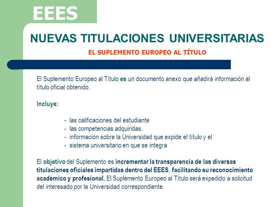 NUEVAS TITULACIONES UNIVERSITARIAS EL SUPLEMENTO EUROPEO AL TÍTULO
