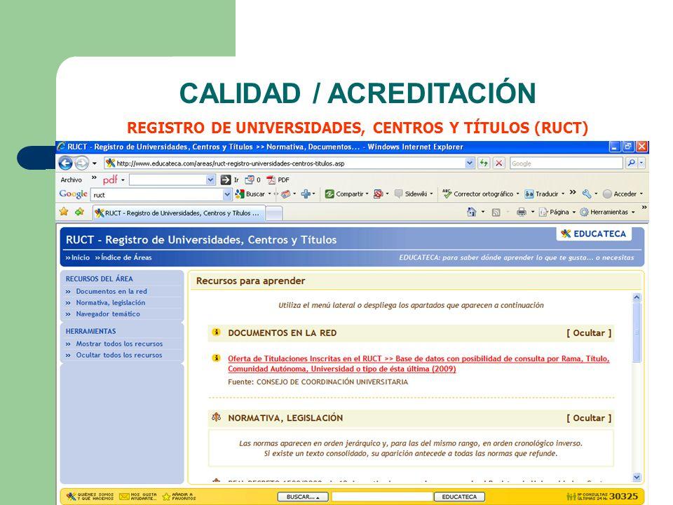 CALIDAD / ACREDITACIÓN