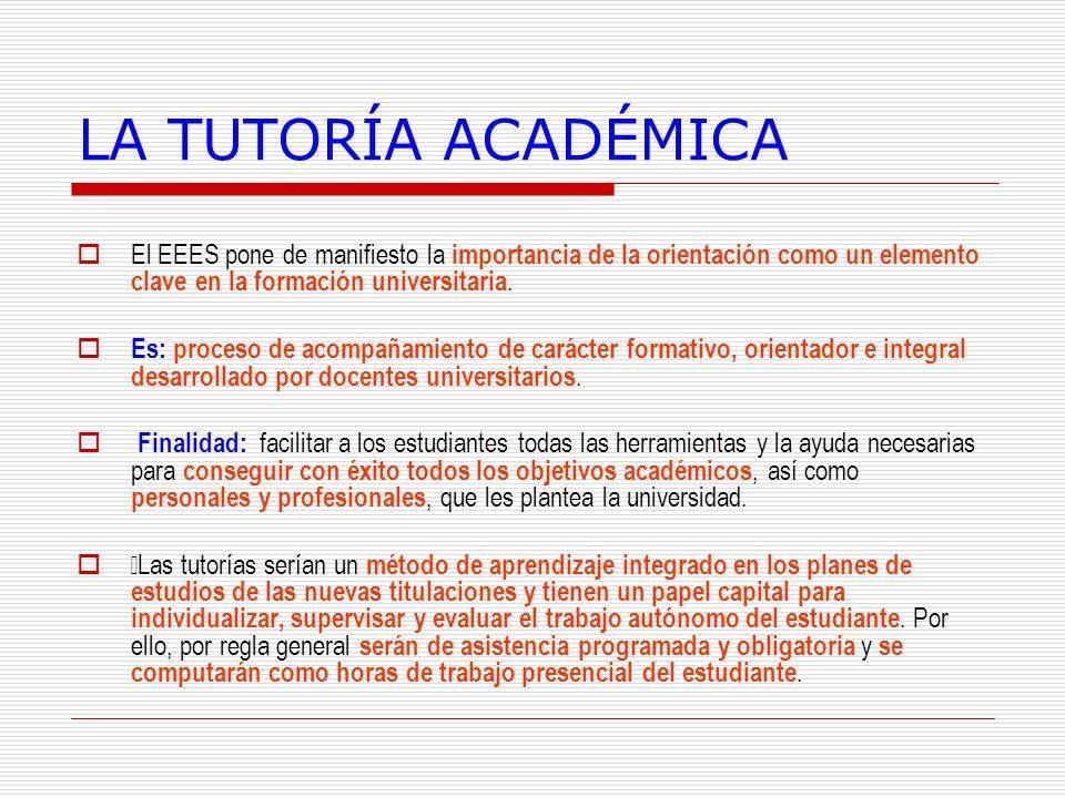 LA TUTORÍA ACADÉMICA El EEES pone de manifiesto la importancia de la orientación como un elemento clave en la formación universitaria.