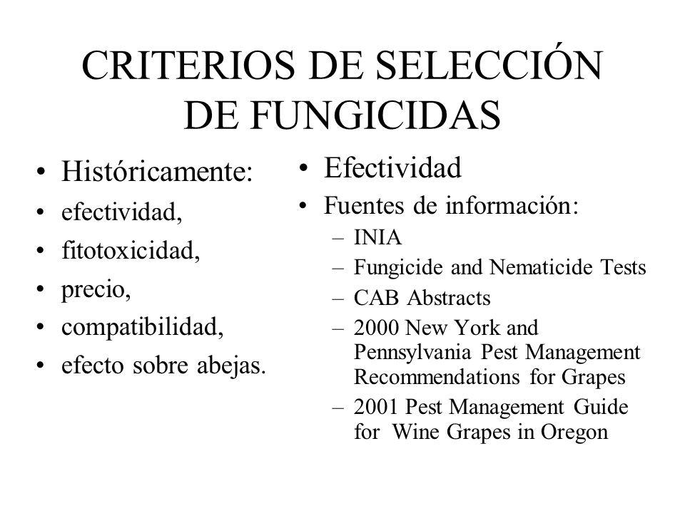 CRITERIOS DE SELECCIÓN DE FUNGICIDAS