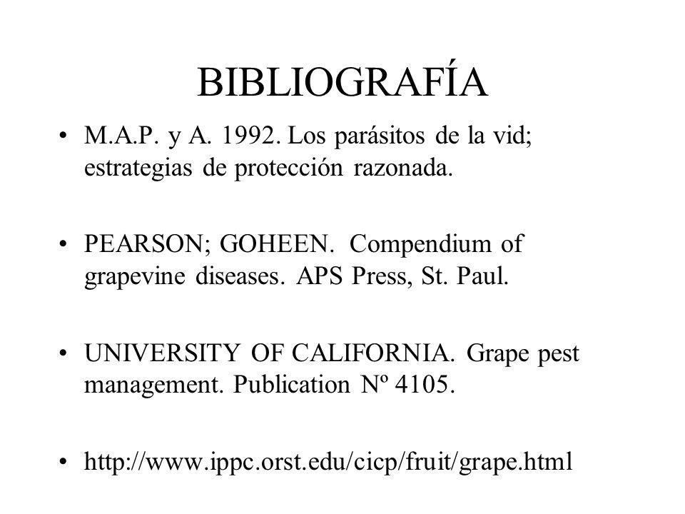 BIBLIOGRAFÍA M.A.P. y A. 1992. Los parásitos de la vid; estrategias de protección razonada.