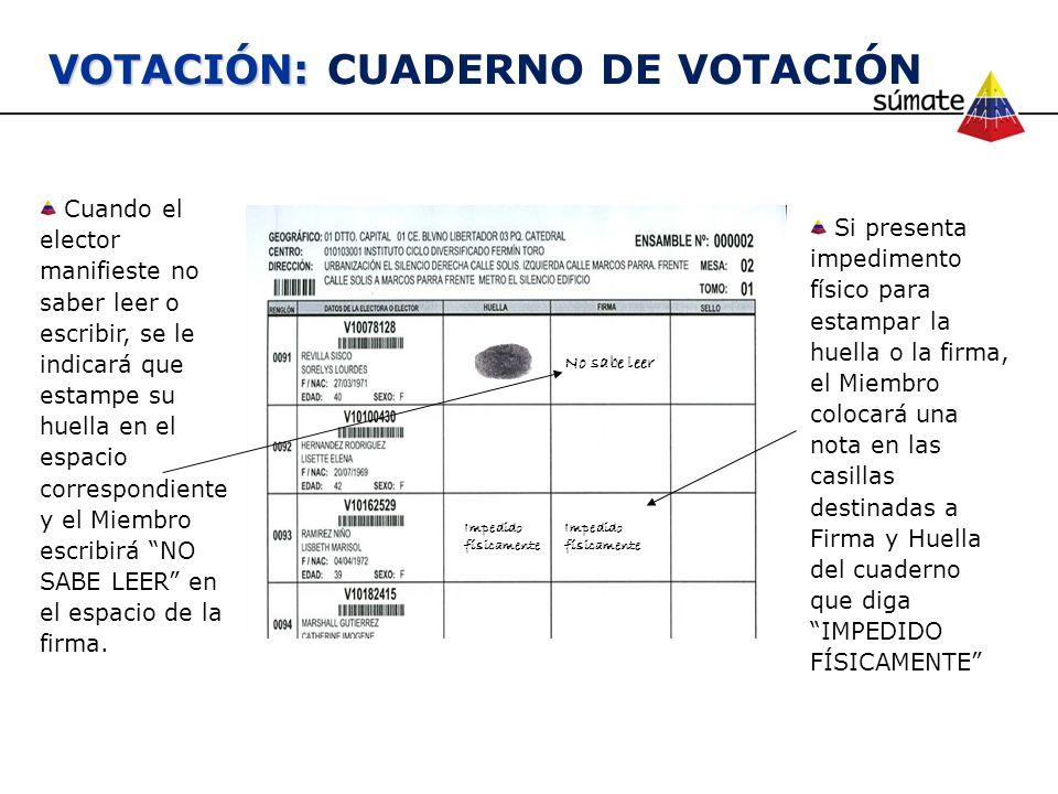 VOTACIÓN: CUADERNO DE VOTACIÓN
