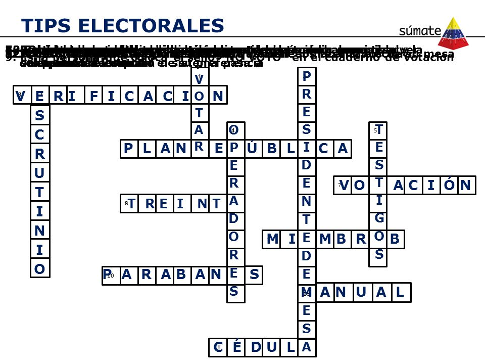 TIPS ELECTORALES V E R I F I C A C I N SCRUTINIO P L A N E Ú B L C A