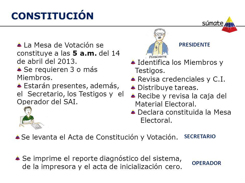 CONSTITUCIÓN La Mesa de Votación se constituye a las 5 a.m. del 14 de abril del 2013. Se requieren 3 o más Miembros.