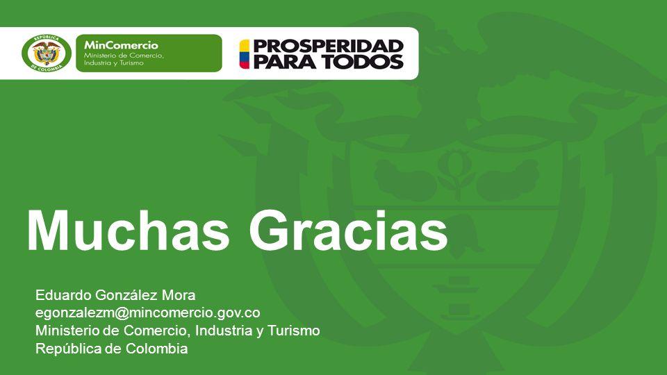 Muchas Gracias Eduardo González Mora egonzalezm@mincomercio.gov.co