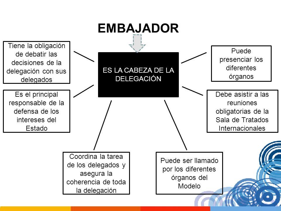 EMBAJADOR Tiene la obligación de debatir las decisiones de la delegación con sus delegados. Puede presenciar los diferentes órganos.