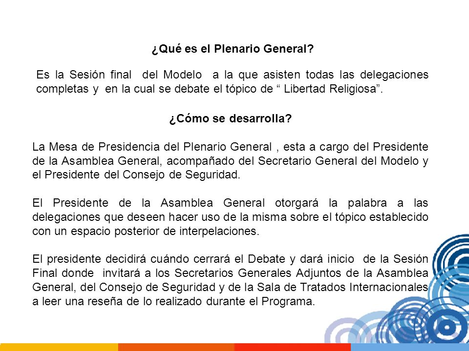 ¿Qué es el Plenario General