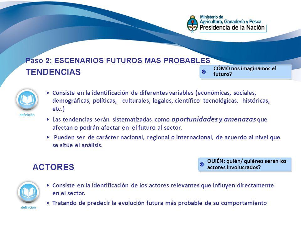 TENDENCIAS ACTORES Paso 2: ESCENARIOS FUTUROS MAS PROBABLES