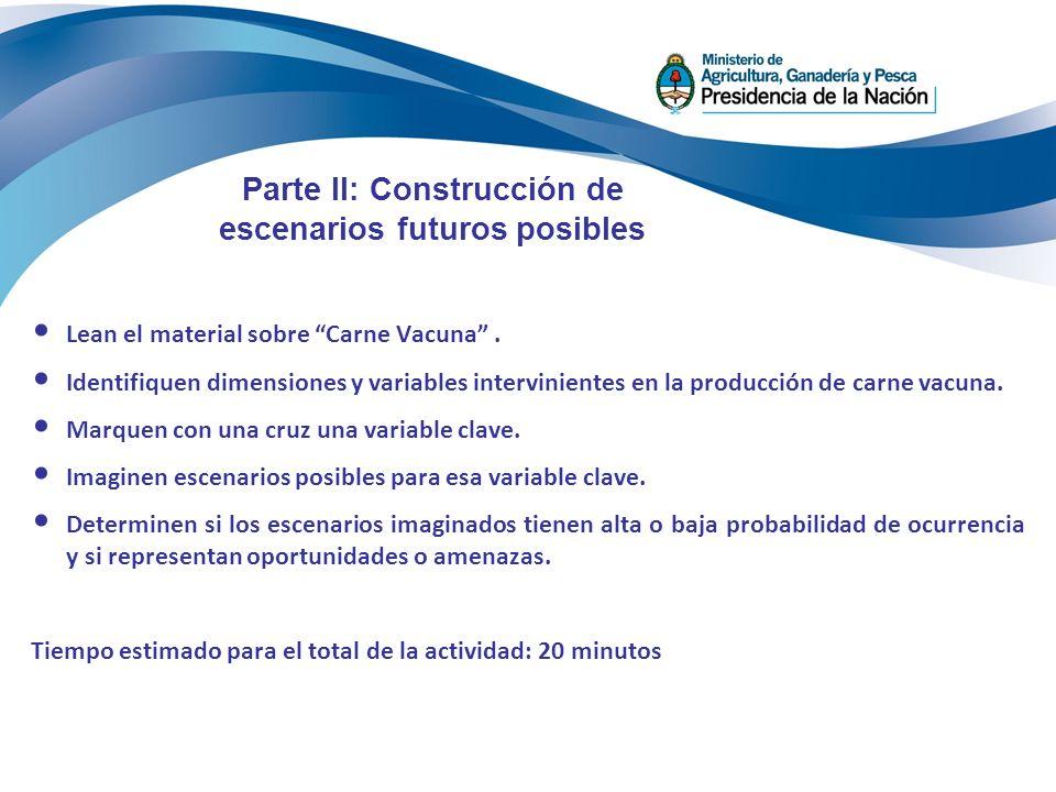 Parte II: Construcción de escenarios futuros posibles