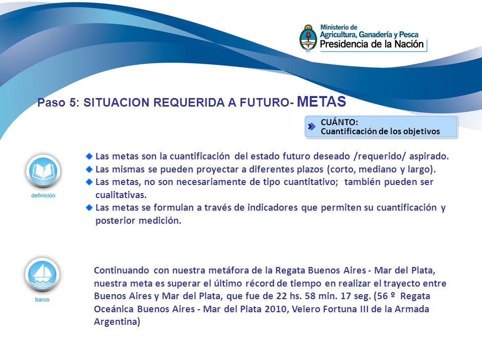 Paso 5: SITUACION REQUERIDA A FUTURO- METAS