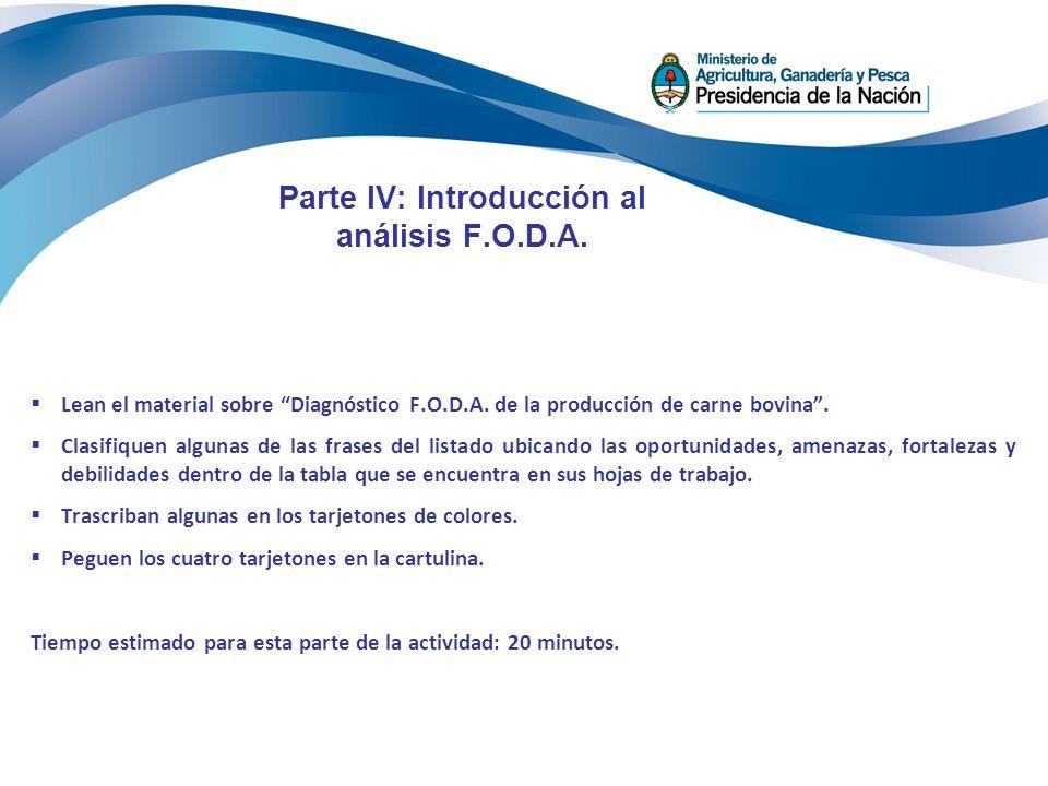 Parte IV: Introducción al análisis F.O.D.A.