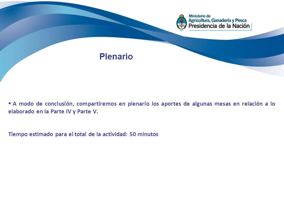 Plenario A modo de conclusión, compartiremos en plenario los aportes de algunas mesas en relación a lo elaborado en la Parte IV y Parte V.