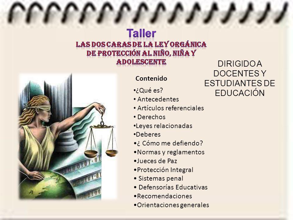 Taller DIRIGIDO A DOCENTES Y ESTUDIANTES DE EDUCACIÓN