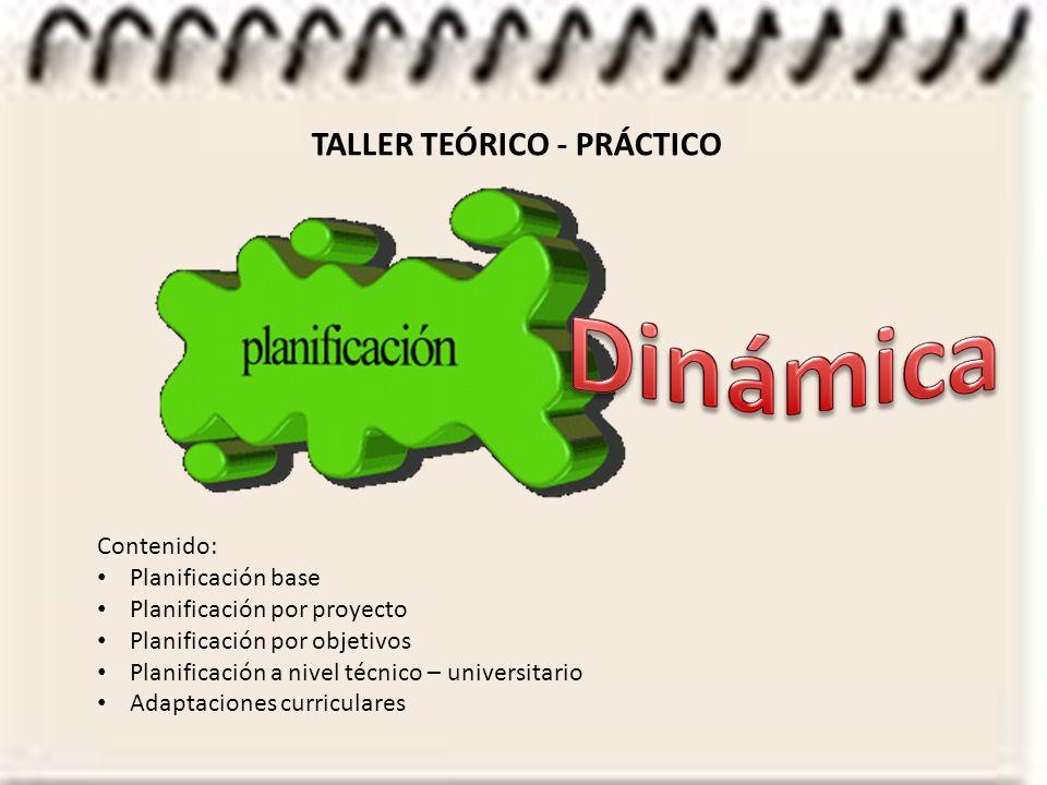 Dinámica TALLER TEÓRICO - PRÁCTICO Contenido: Planificación base
