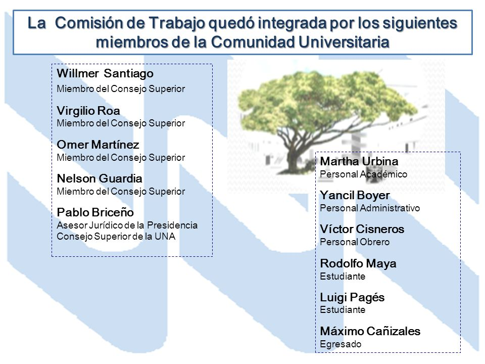La Comisión de Trabajo quedó integrada por los siguientes miembros de la Comunidad Universitaria