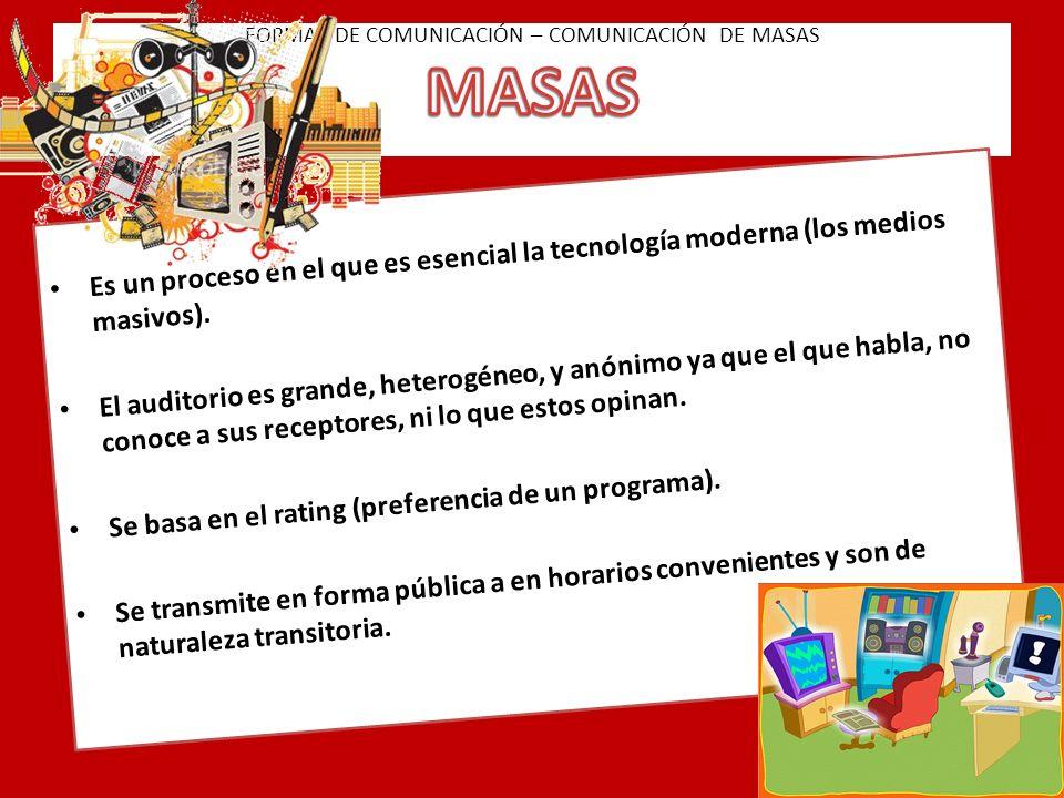 FORMAS DE COMUNICACIÓN – COMUNICACIÓN DE MASAS