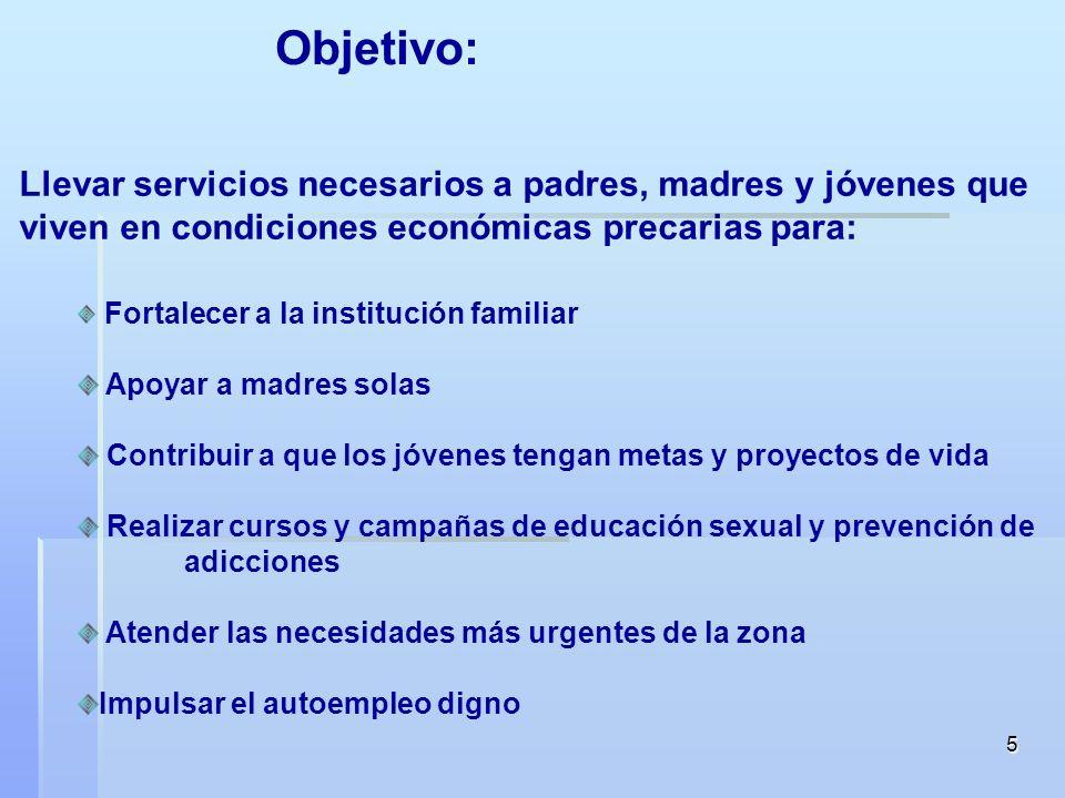 Objetivo: Llevar servicios necesarios a padres, madres y jóvenes que viven en condiciones económicas precarias para: