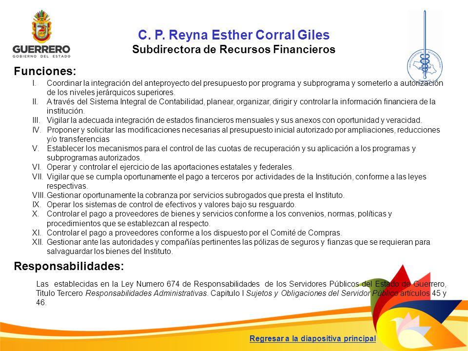 C. P. Reyna Esther Corral Giles Subdirectora de Recursos Financieros