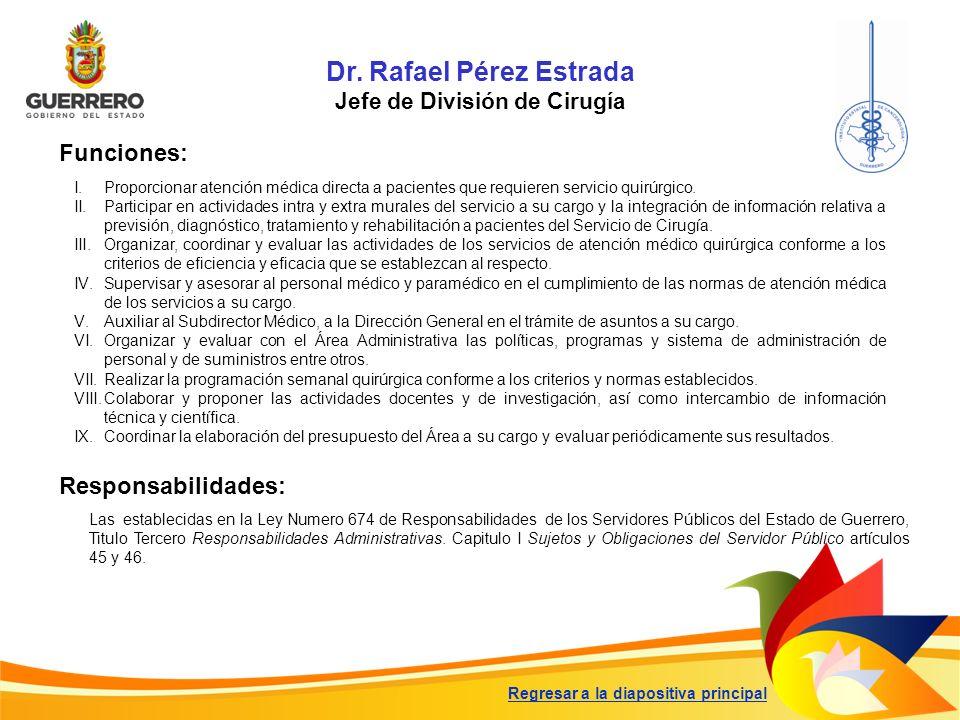 Dr. Rafael Pérez Estrada Jefe de División de Cirugía