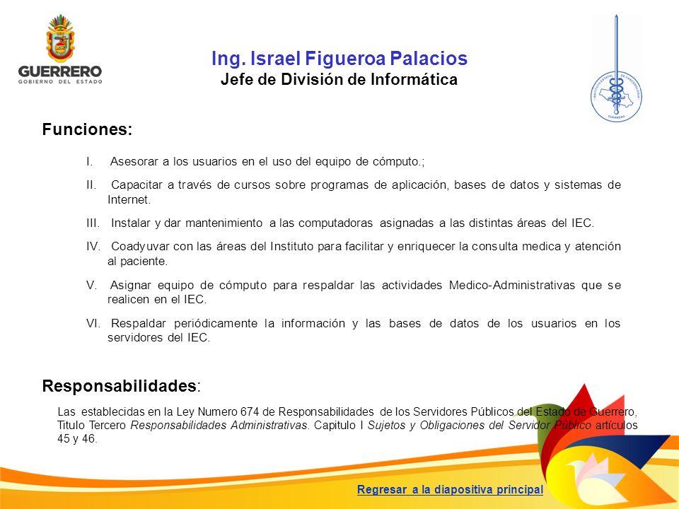 Ing. Israel Figueroa Palacios Jefe de División de Informática