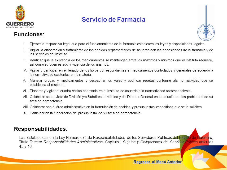 Servicio de Farmacia Funciones: Responsabilidades: