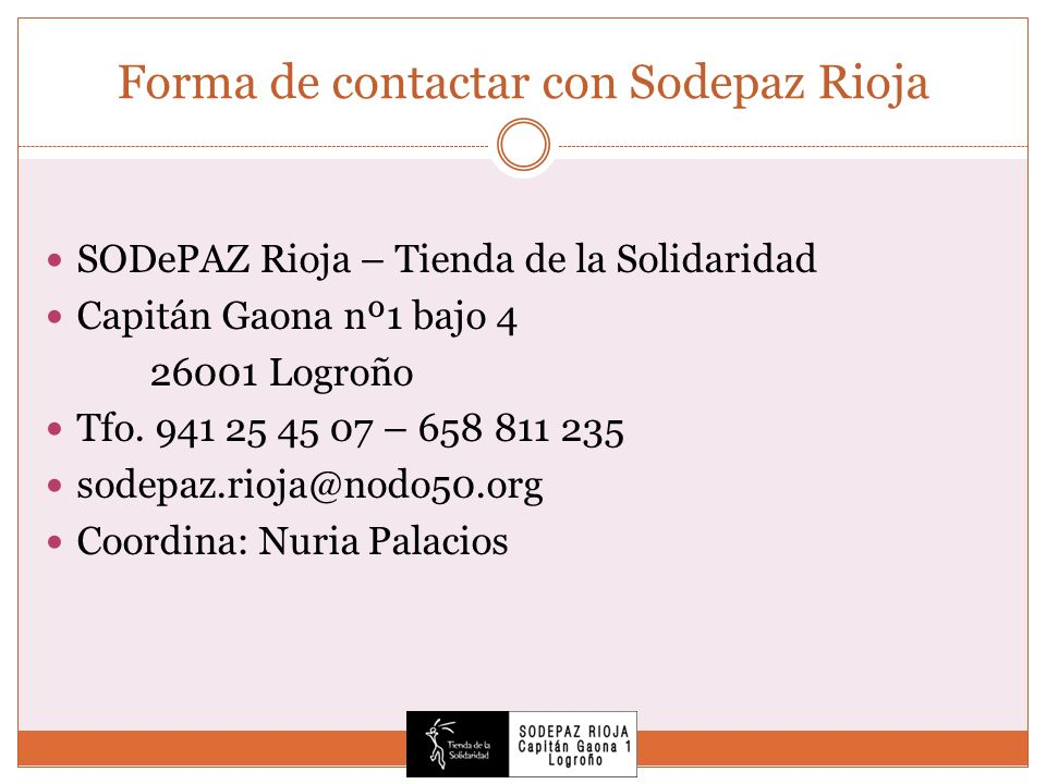 Forma de contactar con Sodepaz Rioja