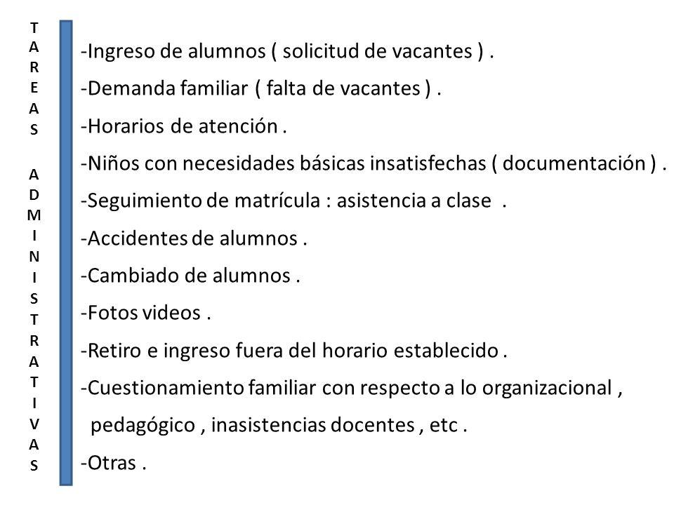 -Ingreso de alumnos ( solicitud de vacantes ) .