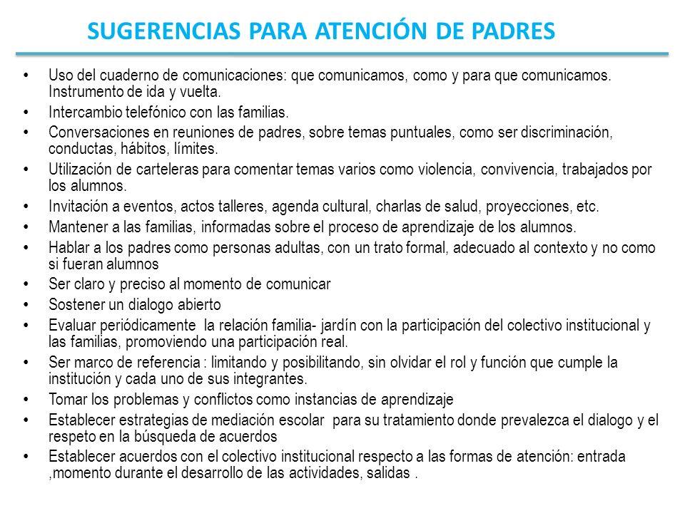 SUGERENCIAS PARA ATENCIÓN DE PADRES