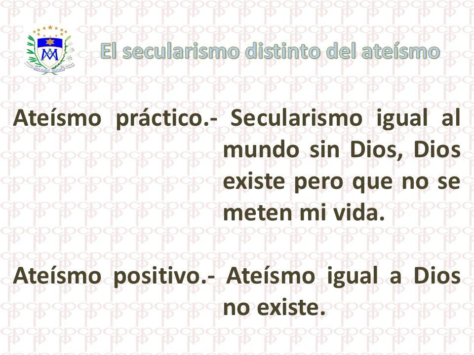 Ateísmo positivo.- Ateísmo igual a Dios no existe.