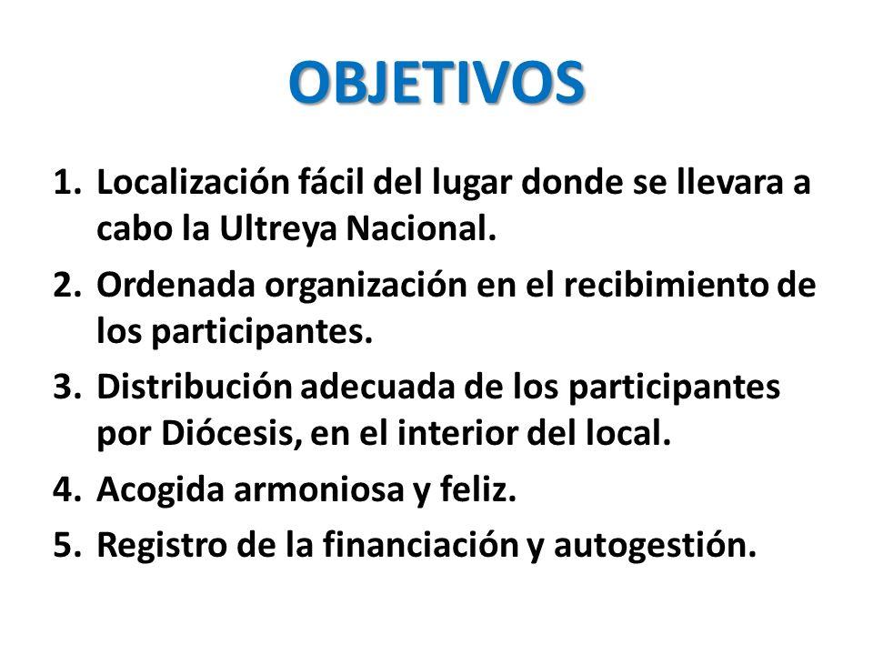 OBJETIVOS Localización fácil del lugar donde se llevara a cabo la Ultreya Nacional. Ordenada organización en el recibimiento de los participantes.