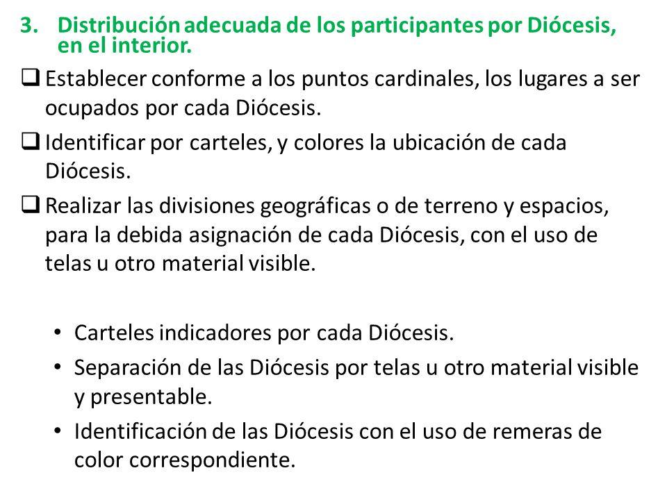 Distribución adecuada de los participantes por Diócesis, en el interior.